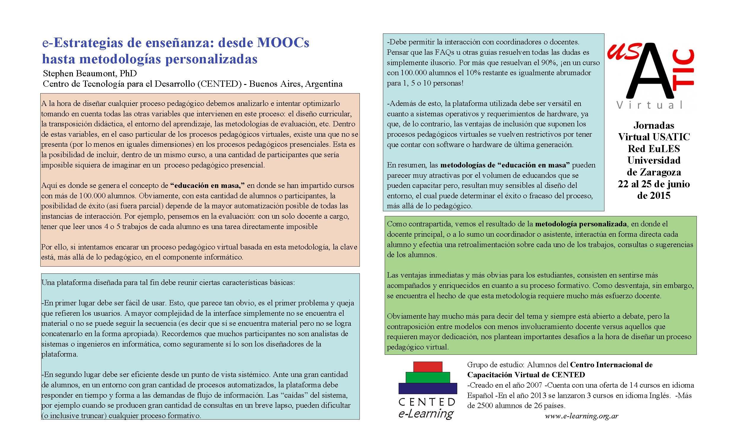Pósteres del Área Temática 1: Plataformas y Entornos de Aprendizaje ...